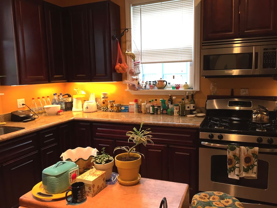 New Gourmet Kitchen with granite countertops and dishwasher, gas stove and microwave.