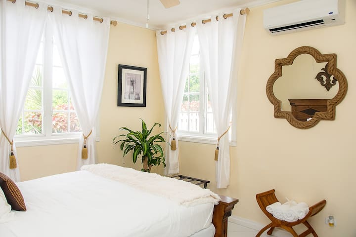 Private Room with Ensuite Bathroom.  Features queen sized bed, ceiling fan, A/C, large windows that let in plenty sunlight.
