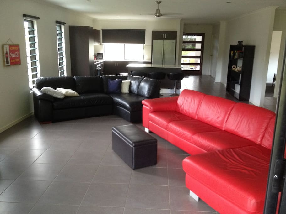 Living Area consists of two large leather couches.