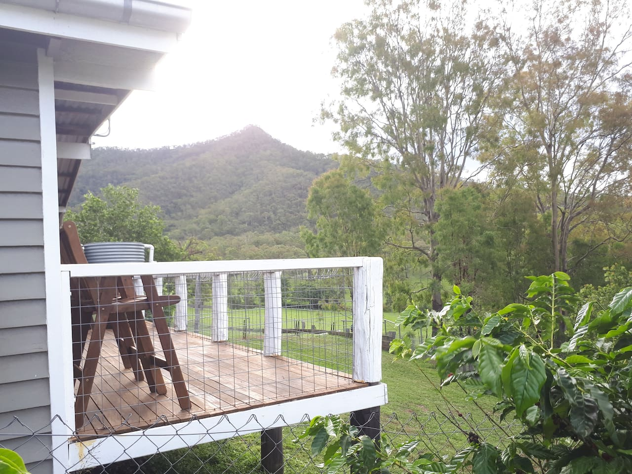 The view over Mt Beau Brummell overlooking our horse and cattle paddocks.