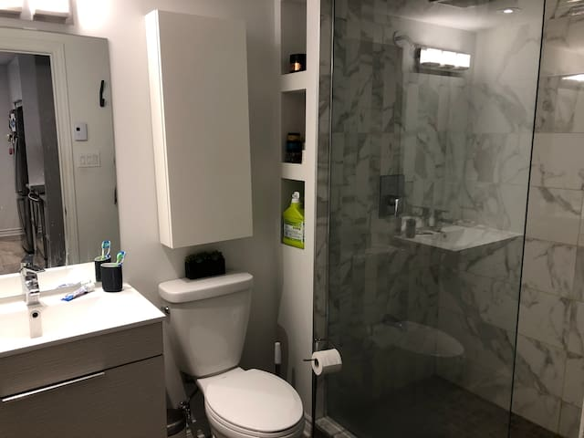 Upstairs bathroom with shower
