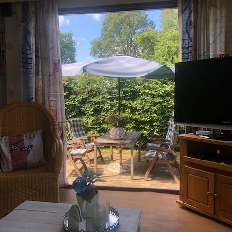 chalet for rent in a quiet and wooded area