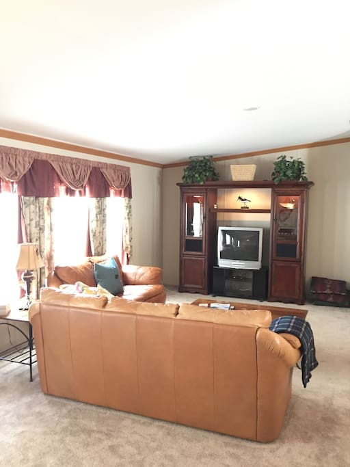 Large living room. Cable TV, DVD and stereo. Leather couch and love seat.