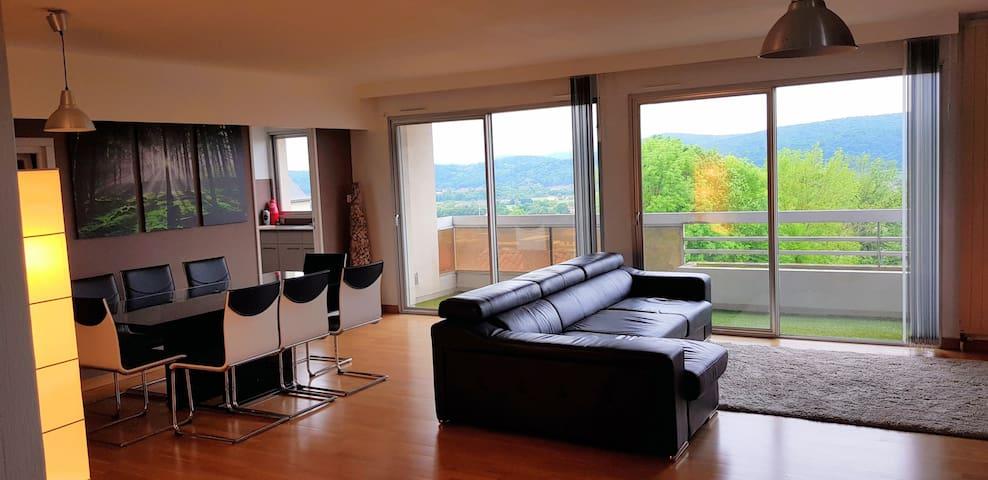 Vue Pyrénées pour cet appartement T2 avec terrasse