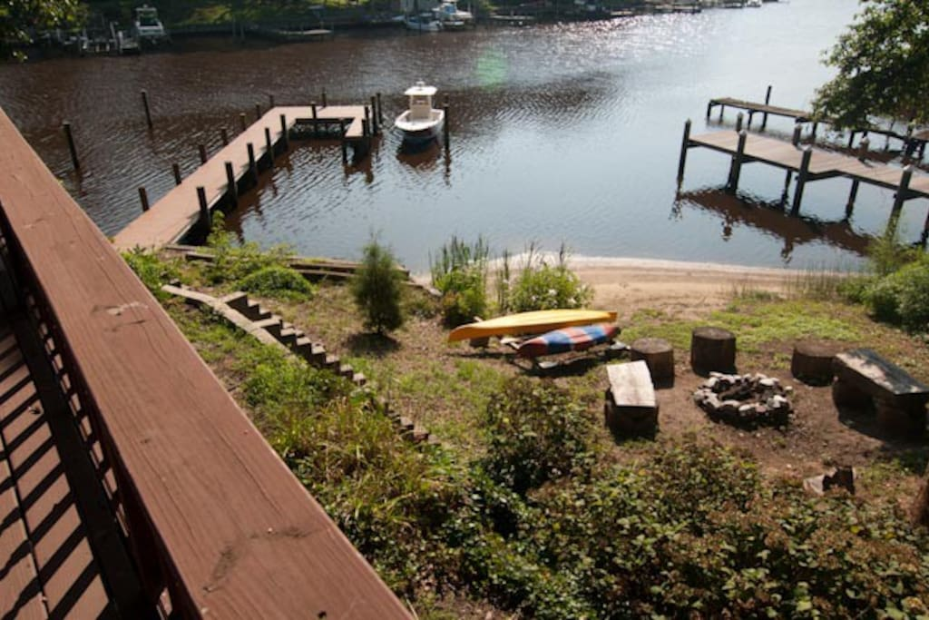 View from deck - kayaks, fire pit, dock, Magothy River