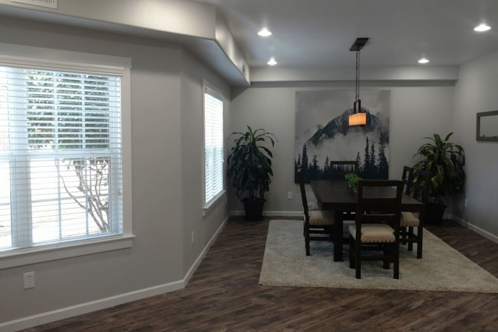 Large, bright windows overlooking 2 acres of greenspace