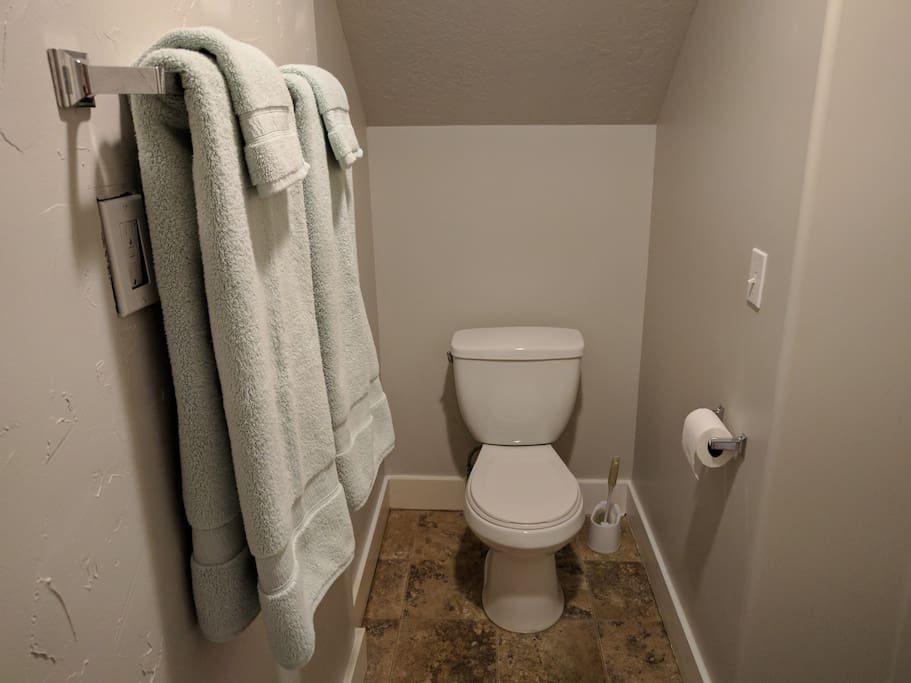 Private Bathroom With towels, wash cloths and toilet paper