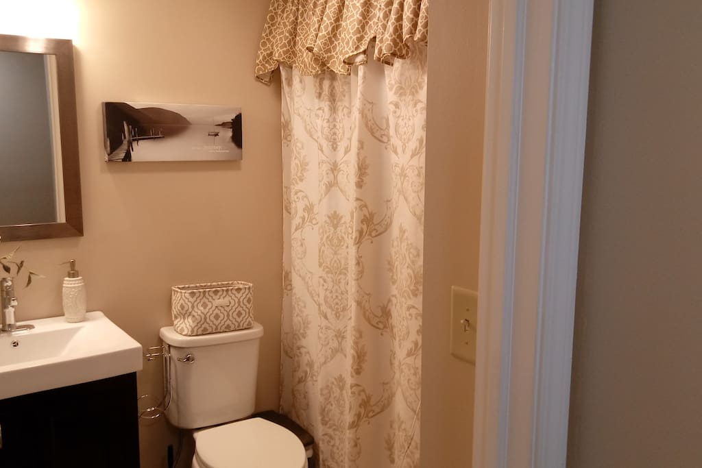 This dedicated  bath offers plenty of privacy and free bath amenities. An extra wide shower head awaits you.
