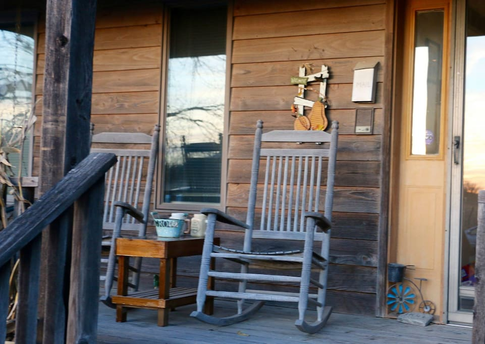 Front porch where we enjoy sunsets and beautiful days.
