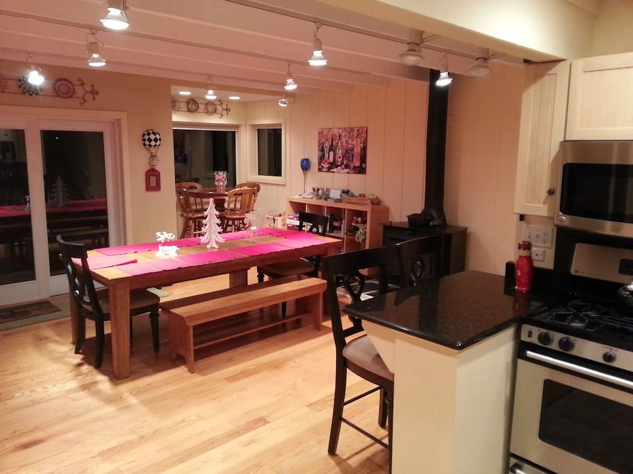 Dining table and cast iron fire place