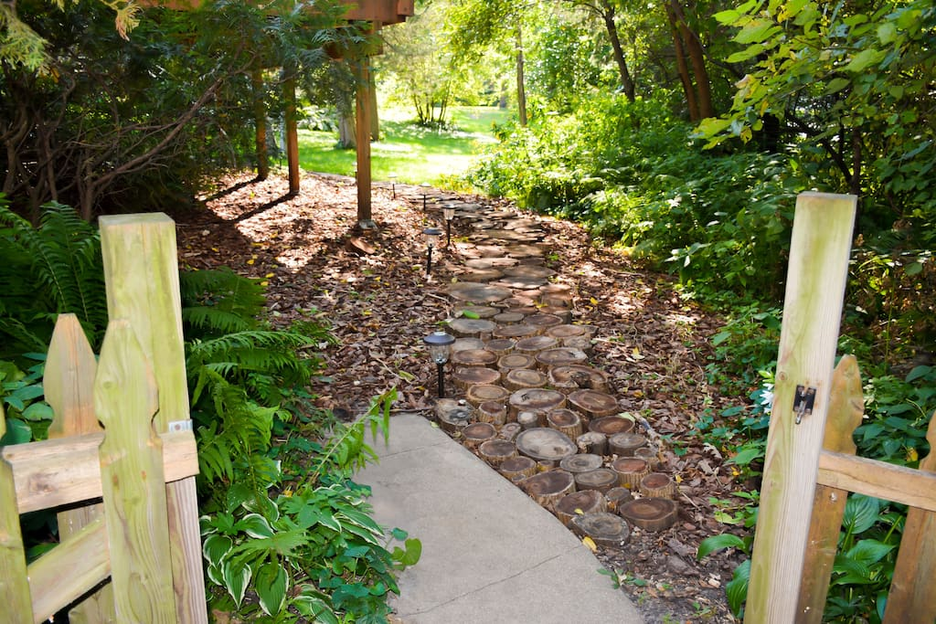 Wooden pathway to private entrance