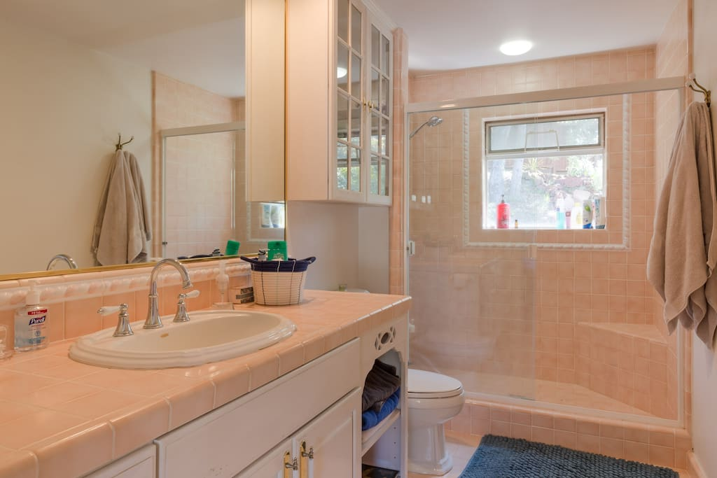 Spacious Master bathroom with large tile shower with seat.