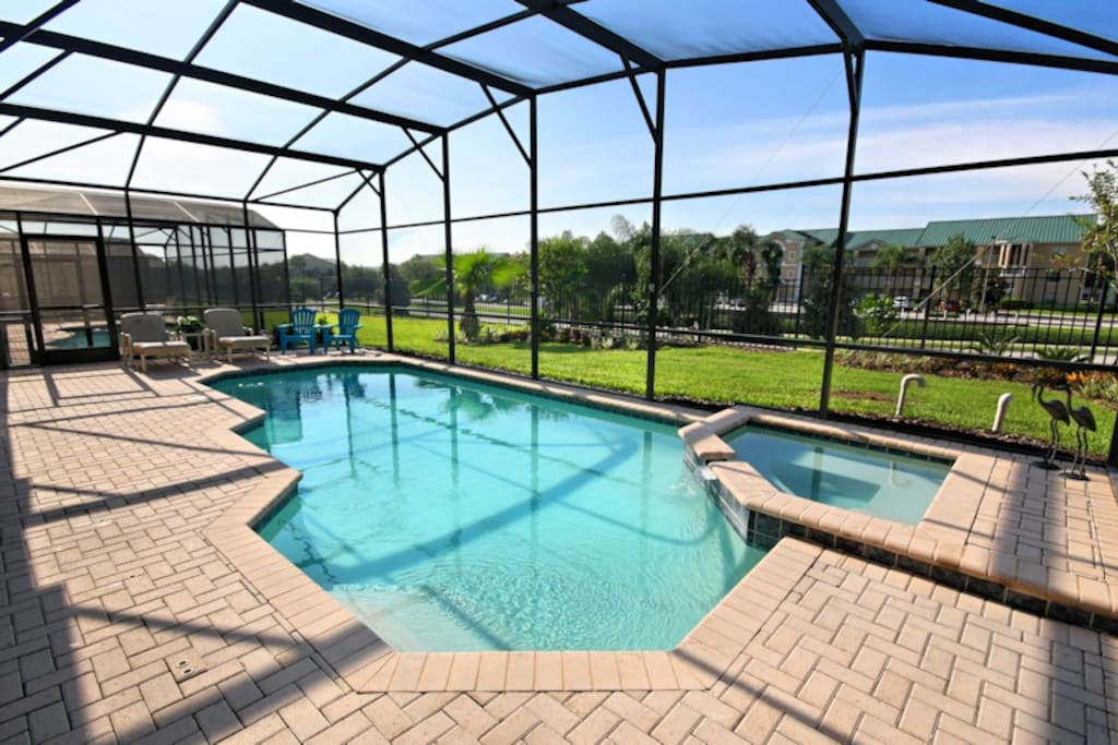 South-facing pool with spillover spa that is not overlooked