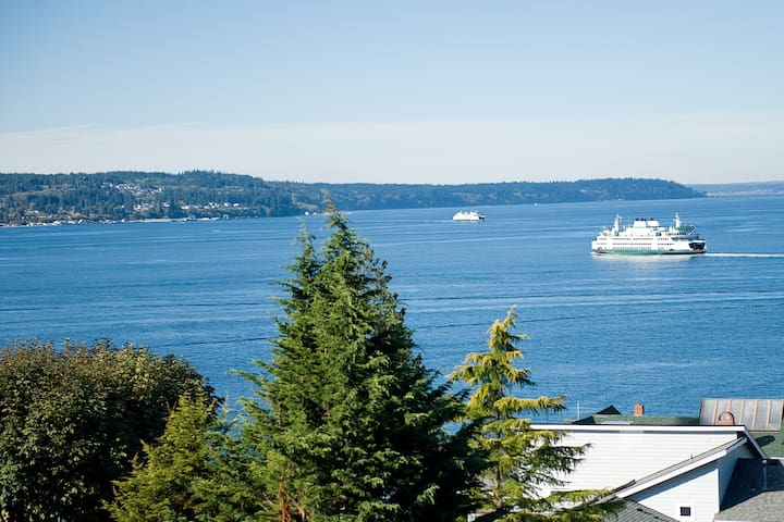 View of Ferry boats coming to and from Whidbey Island.