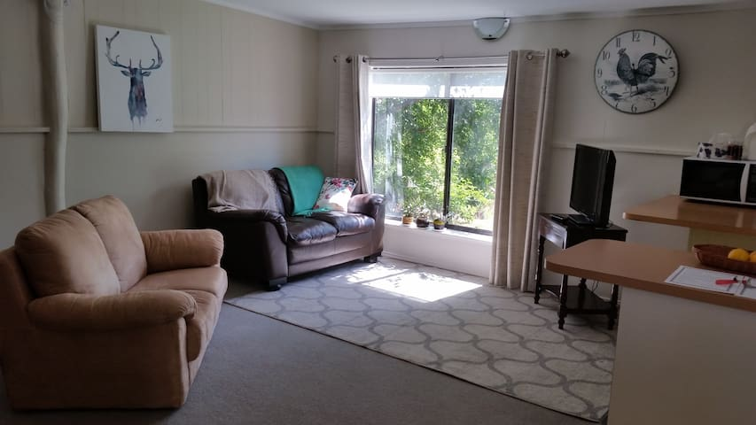 Open living area with TV. Afternoon sun.  Pleasant outlook over orchard.