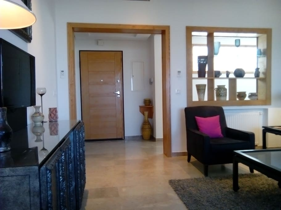Living room and main entry door