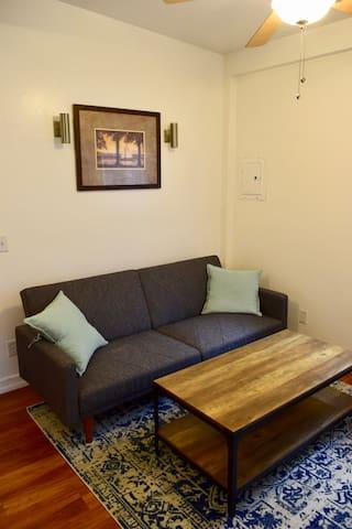 Ocean view living room with sleeper sofa