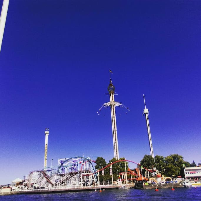 Gröna Lund theme park accessible by boat from our island. Journey takes approximate 15-20 mins. We have two entrance passes which allow you access to the summer concerts.