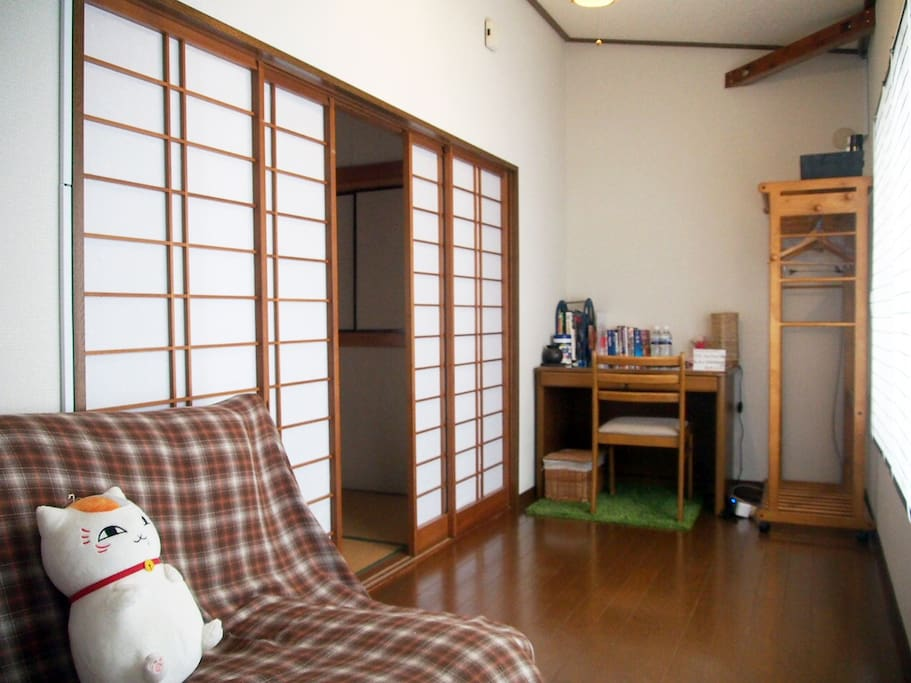 This is the another part of the guest room. It is with two parts; Japanese room and wooden floor divided by Japanese shoji shutter.