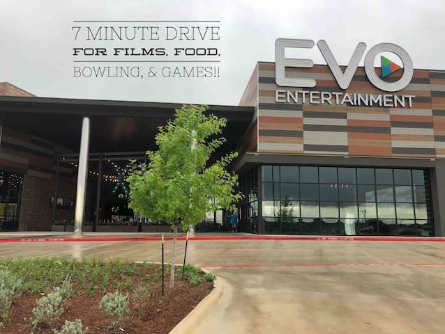 Brand New dine-in awesome theater! The food is cooked fresh on site! There is also an outdoor space to relax, sit by the fire, watch sports, or play corn hole!