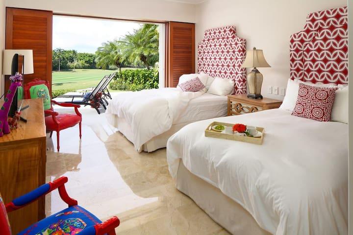 Bedroom 3 opens to pool patio