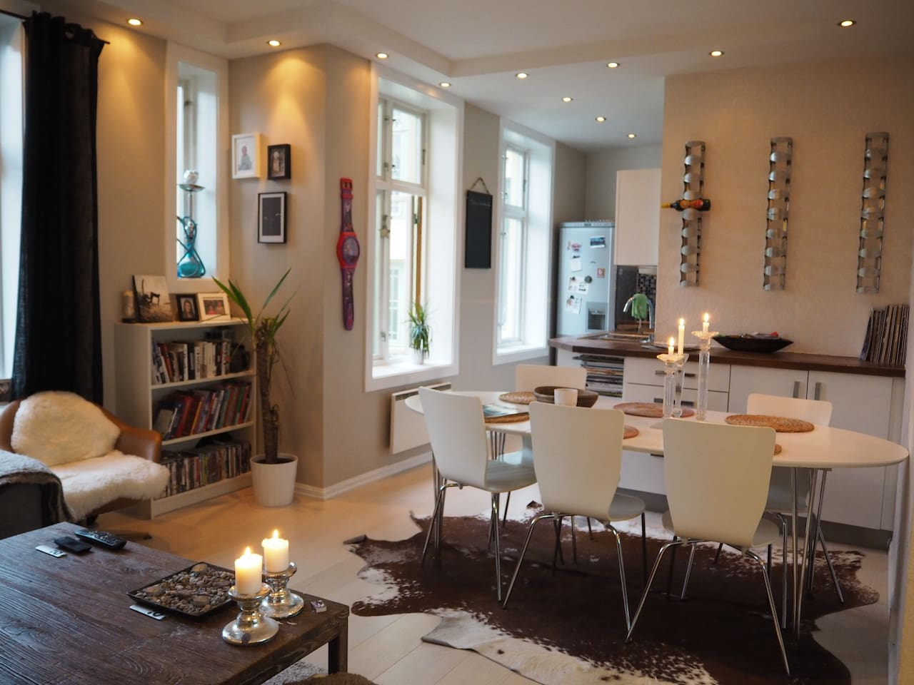 The living room, kitchen and dining table