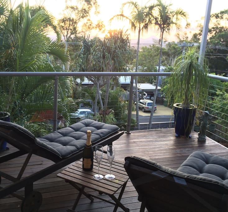 Upstairs lounge area enjoys magnificent sunsets