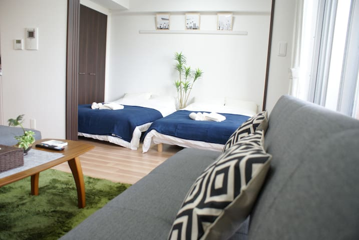 1LDK-Spacious at Namba Osaka 4mins to Sta+WIFI,TV - Naniwa-ku, Ōsaka-shi - Квартира