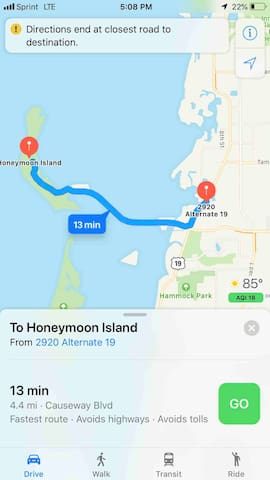Our place is 10 minutes away from Honeymoon Island