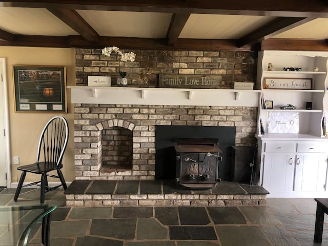 Hearth room with wood stove.  Wood is additional and must be ordered