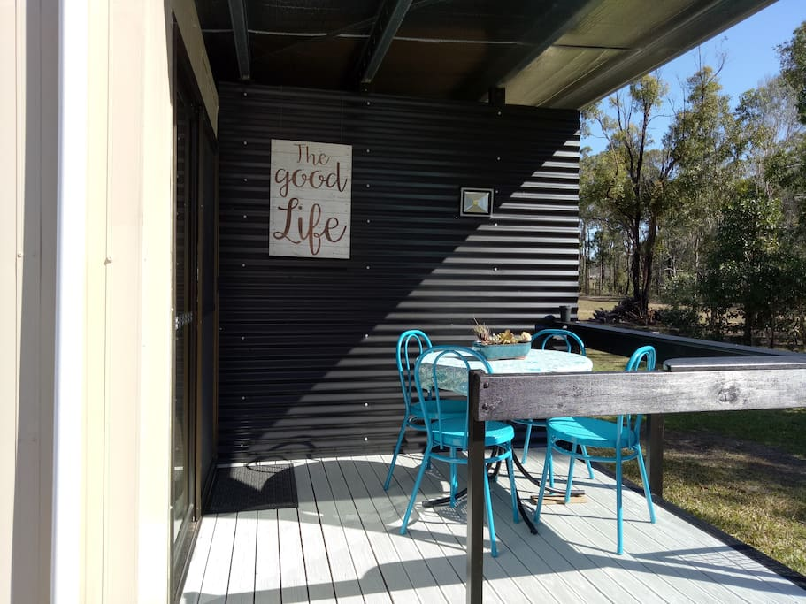 Lovely front verandah for sitting back and having a snack or a drink in the peace and quiet.