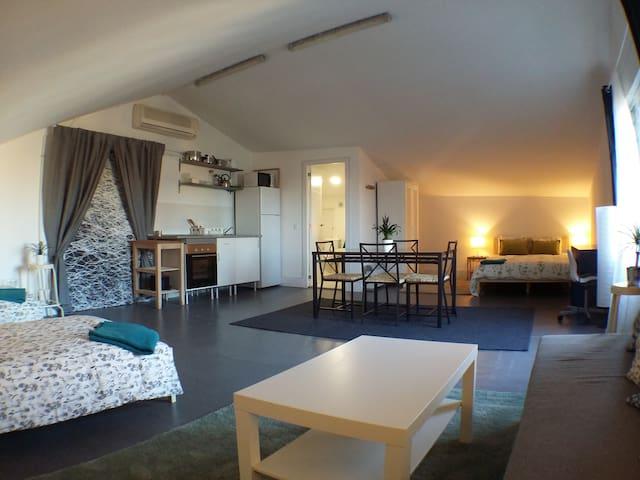 Huge Top Floor, sleeps 2-8, Piso Superior Grande - Madrid - Apartemen