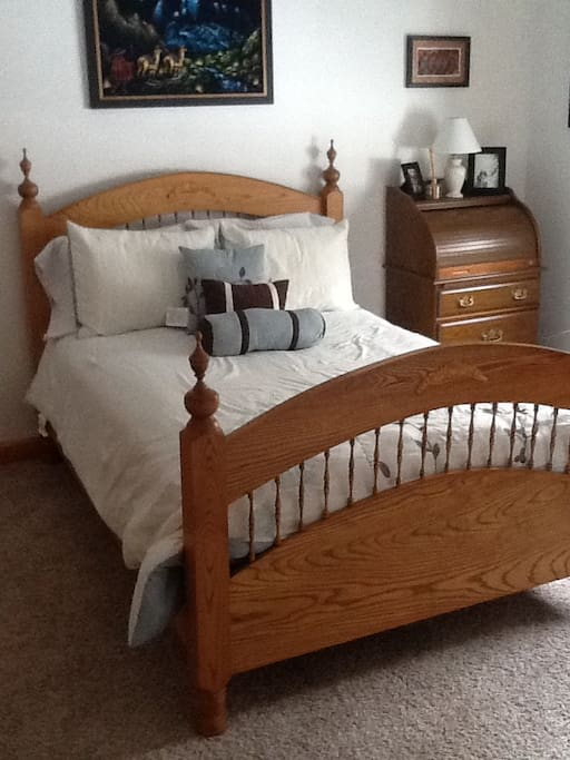 Your cozy full size bed, in our home, with the potential for a private bathroom, based upon other bookings.