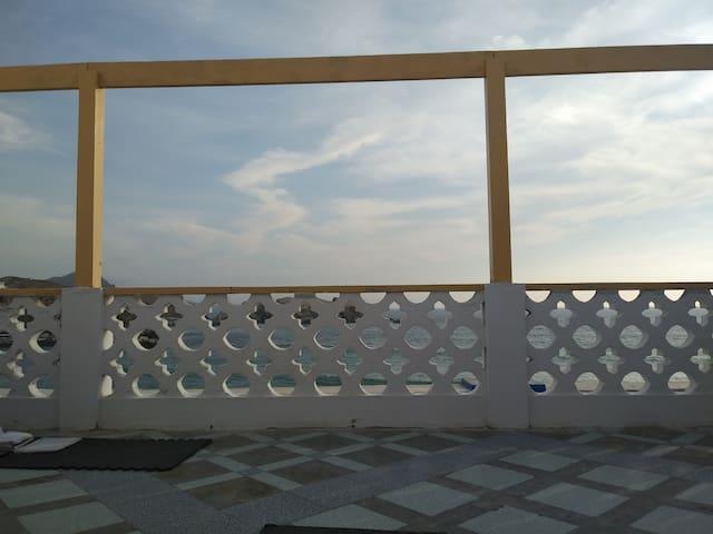 Departamento San Bartolo. Terraza con vista al mar