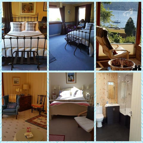 Sunny, comfortable loch-side Scottish home near Loch Lomond with stunning views.