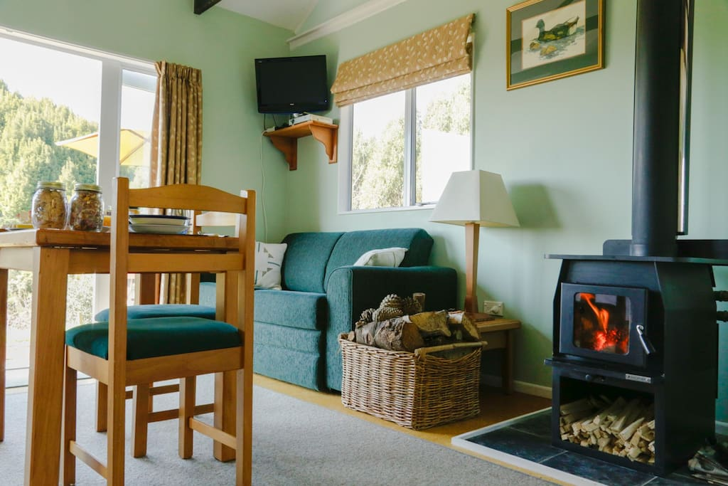 A cosy wood burning stove for the cool winters.