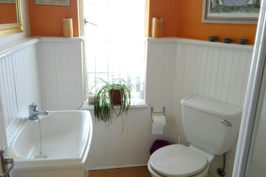 En-suite with basin, toilet and shower