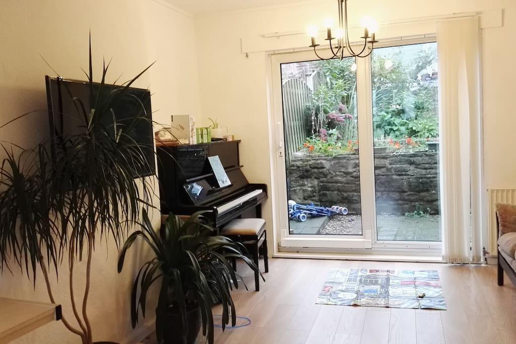 Lounge view towards garden - French door access to courtyard