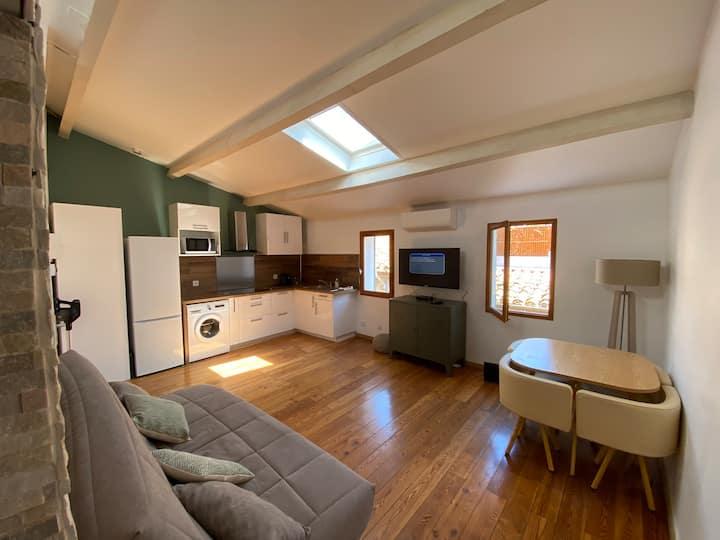 Grand studio climatisé de 40m2 avec mezzanine