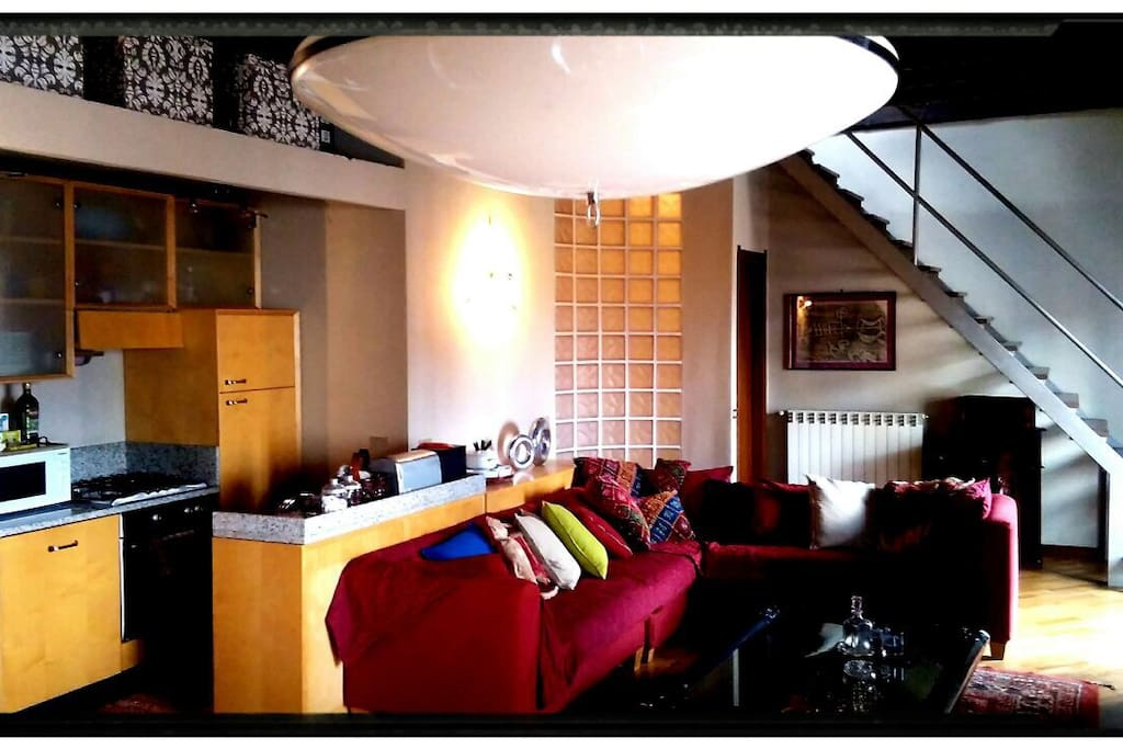 Living room. Very large sofa.