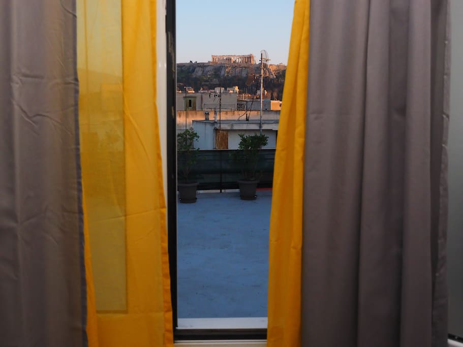 View from the living room towards Acropolis and the two terraces of the flat