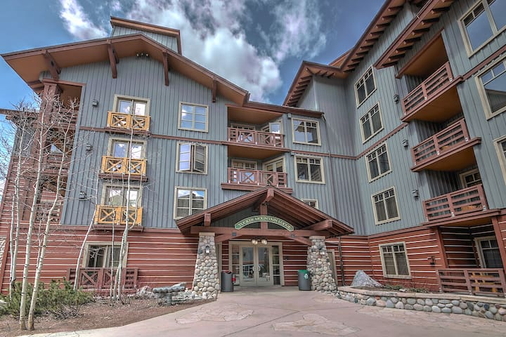 The main entrance to Tucker Mountain Lodge. Your deck faces the mountain and is the highest deck above the entrance to the building.