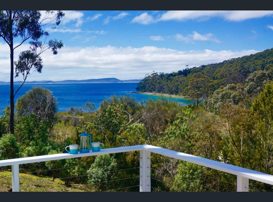 Views from the deck over Adventure Bay and South Bruny National Park.