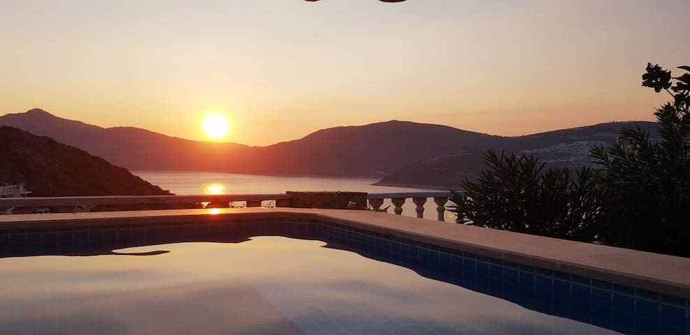 Enjoy the sunset from the pool