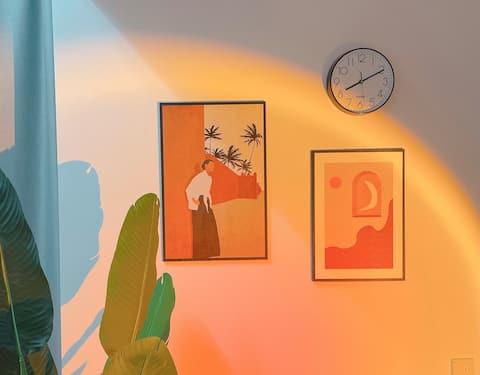 〖520甜蜜小屋 〗小铭同学的loft复式 麻将房 超大空间可做饭  阳面房间阳光好 超清投影仪