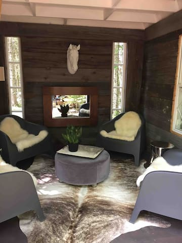 Main floor of the bunkie, finish in beautiful barn board for a rustic modern feel! Comfy seating and an electric fireplace for some ambience!