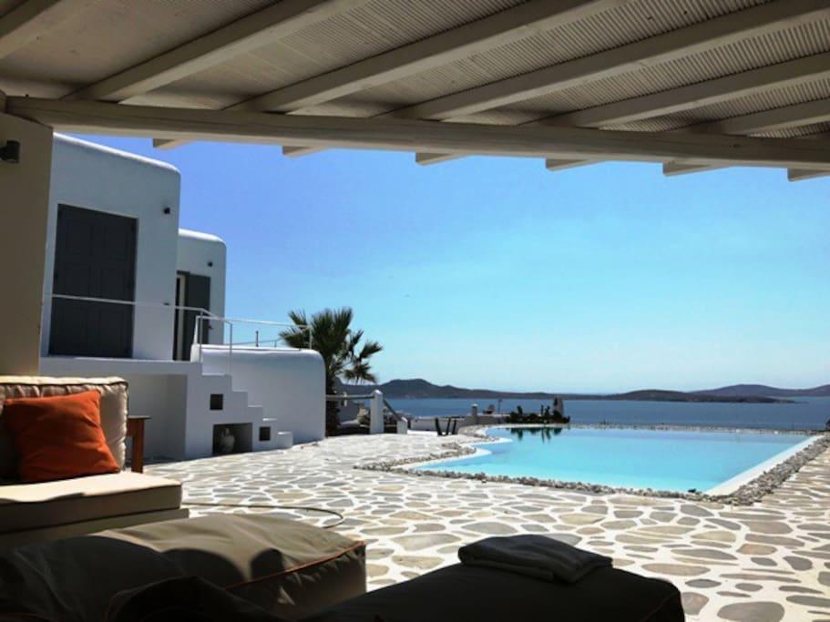 view from veranda to sea & sunset