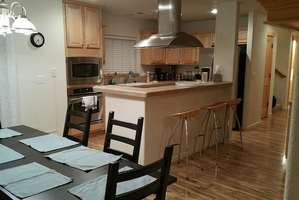 Large full size kitchen with High End GE Profile Appliances. equipped with everything for cooking a large meal for friends and family.