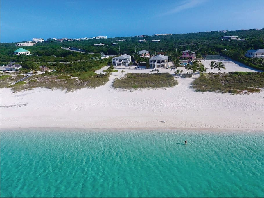 This is the section of Grace Bay beach is an 8 minute walk (2 min by bike) from our property.