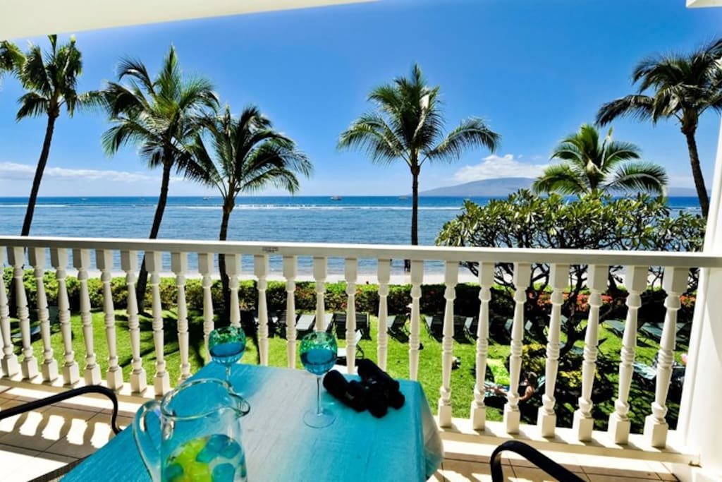 Enjoy coffee or a cup of wine on your private lanai.  2nd floor so you can securely sleep with the sound of the gentle waves